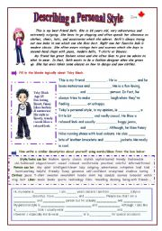 English Worksheet: Describing A Personal Style