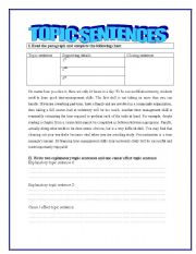 Topic sentences - ESL worksheet by yessi