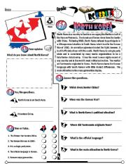 English Worksheet: RC Series_Level 01_Country Edition_68 North Korea (Fully Editable + Key)