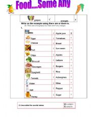 English Worksheet: Food...Some Any