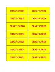 English Worksheets: crazy cards