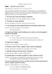 English Worksheet: capitalization