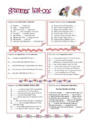 English Worksheet: GRAMMAR TEST-ONE