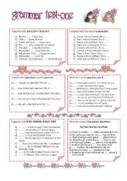 English Worksheet: GRAMMAR TEST-ONE