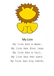 English Worksheets: My lion