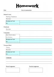 English worksheets: Homework Assignment Sheet