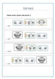 English Worksheets: Practice activity on vocabulary related to face.