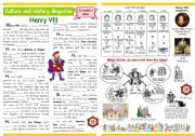 English Worksheet: Culture and history magazine (3) - Henry VIII - Past Simple