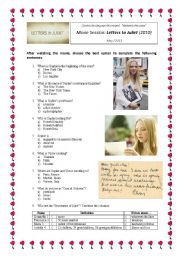 English Worksheets: Movie Activity: Letters to Juliet (2010)