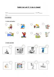 English teaching worksheets: Daily routines tests