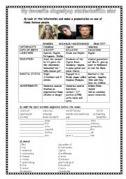 English Worksheets: MY FAVOURITE POP STAR/ACTOR