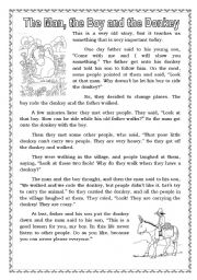 English Worksheets: The Man, the Boy and the Donkey.
