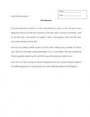 English worksheet: Reading Entertainment