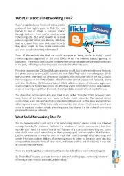English Worksheets: What is a social networking site?