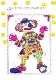 English Worksheets: Body Parts- Clown