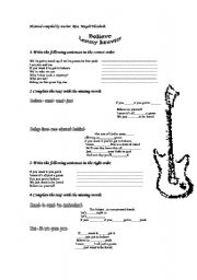 English Worksheet: song believe by lenny kravitz