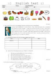 English Worksheet: written test - eating habits - food