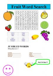 healthy fruit word search