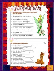 English Worksheets: questions and question tags