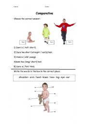 English Worksheets: Comparing between people & parts of the body