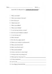 English Worksheets: 21 basic questions (set of 4)