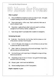 English Worksheet: 50 Ideas for teaching poems