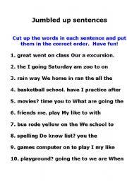 English Worksheet: Jumbled Up Sentences