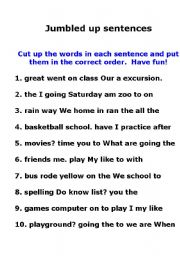 English worksheets: Jumbled Up Sentences