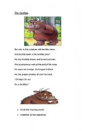 English Worksheet: The Gruffalo rhyming words