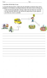 English Worksheets: Writing a composition with the help of a map