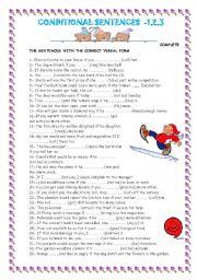 English Worksheet: CONDITIONAL SENTENCES: 1-2-3