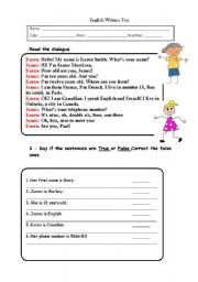 English Worksheets: written test on personal identification, colours, countries, nationalities, verbs Have got and To Be