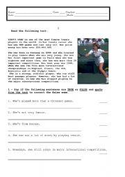 English Worksheet: written test on famous tennis player