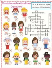 English Worksheet: Countries and Nationalities crossword