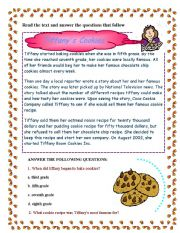 English Worksheets: Tiffany�s Cookies