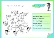 English Worksheet: Europe Nationalities and map & activity & key included, fully editable
