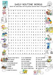 DAILY ROUTINE WORDSEARCH