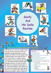 English Worksheets: Goofy and his daily routine