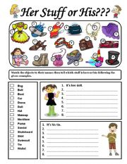Possessive adjectives worksheets for kindergarten