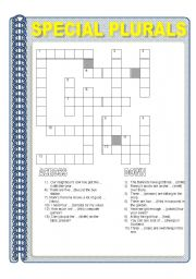 English Worksheets: SPECIAL PLURALS