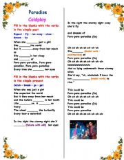 English Worksheet: Working with verb tenses : Song - Paradise (Coldplay) , with answer key