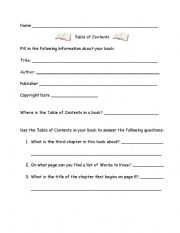 English Worksheets: Table of Contents