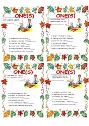English Worksheet: ONE / ONES