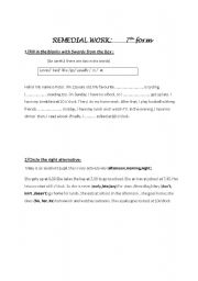 English Worksheets: 7th remedial work