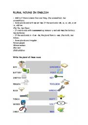 English Worksheet: plurals for technical english