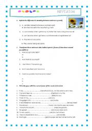 English worksheet: Revision test 2nd Bachillerato