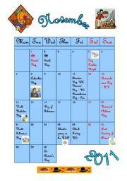 November 2011 - calendar