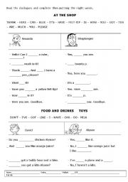 English Worksheets: At the shop