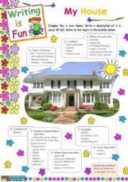 English Worksheets: Writing is Fun (2)  -  My house