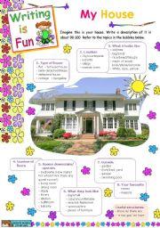English Worksheet: Writing is Fun (2)  -  My house